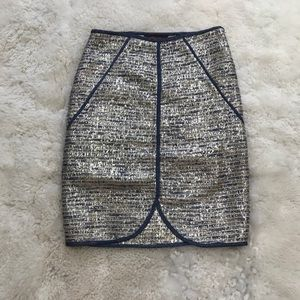 Ranna Gill Metallic Lined Pencil Skirt